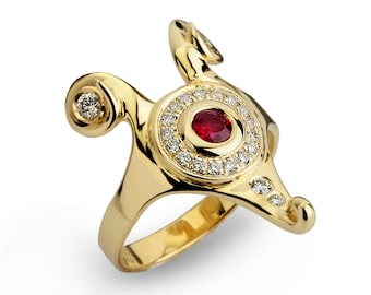 HATHOR Diamond Ruby Ring, Gold Ruby ring, Unique Engagement Ring, Egyptian Jewelry, Ruby Engagement Ring, Diamond Ring 14k Gold