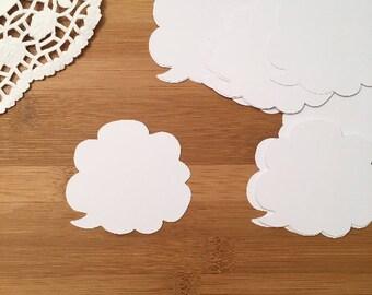 White Clouds Speech Bubbles Die Cuts    Set of 100 Pcs