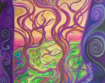 The Poisonous Purple Pinching Plant - Koru Contemporary Art print, signed mounted print of a chalk pastel drawing