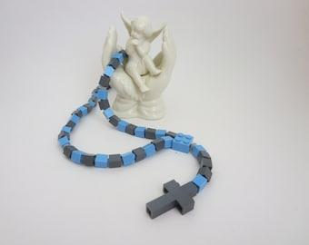 Catholic Rosary made of Lego Bricks - Light Blue and Gray Lego Bricks Rosary