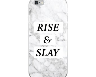 Rise and Slay Grey Marble iPhone Case
