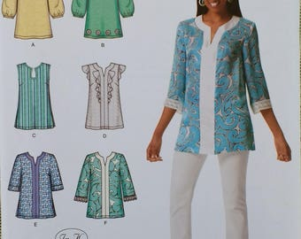Misses Tunic Top Pattern Simplicity 2448 Misses Tunic with neckline sleeve and trim variations Pattern Misses Size 6 8 10 12 14
