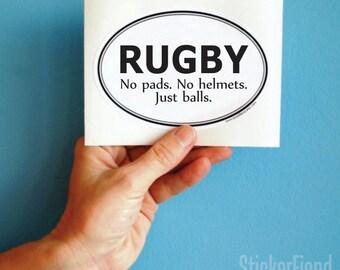 rugby just balls vinyl bumper sticker
