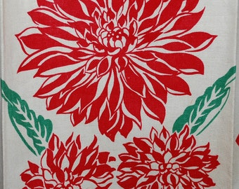 Fab Red Floral Kitchen Towel-unused