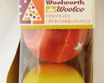 Woolworths Woolco America's Christmas Store Ball Ornaments Set of 4