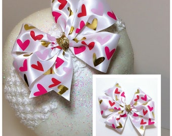 Multicolored Hearts Pinwheel Bow