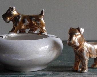 Adorable Terrier Ashtray & Figurine!