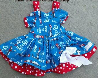 Dr Seuss Inspired Dress, Cat in the Hat Inspired , Dr. Seuss Inspired Clothing, Peek-A-Boo Dress, Twirl Dress, Summer Dress, Toddler Dress