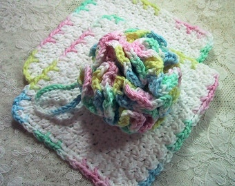 Baby Bath Set - 3 Piece Set - Bath Puff and 2 Wash Cloths - Nice Baby Shower Gift - Handmade Crocheted with Cotton Yarn