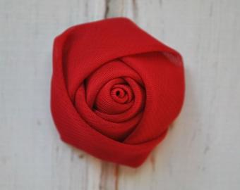 "5pc Dark Red Chiffon Rosette - 1.5"" inch chiffon rose flowers"