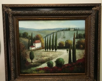 Peaceful Countryside Painting With Ornate Wooden Frame