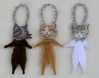 Chat amoureux cadeau Christmas Ornaments - Shabby Chic chat ornements