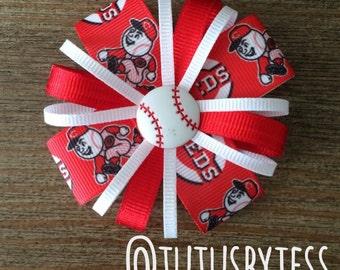 Cincinnati Reds Baseball Headband  Hair Bow