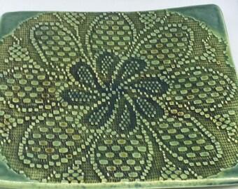 Handmade Pottery Tray, Serving Tray, Appetizer Tray, Stamped Tray,  Celedon Tray, Textured Tray, 081b