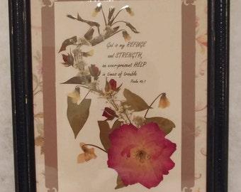 Pressed flower framed art My Refuge