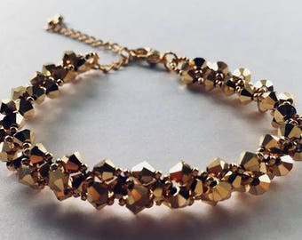 Encrusted Swarovski Crystal Bracelet with silver clasp and extender chain - Gold - gift boxed