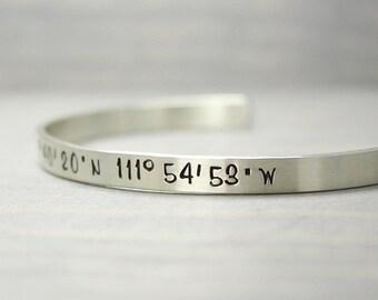 Silver Coordinate Cuff, Latitude Longitude Cuff, Custom Coordinates, Coordinate Bracelet, Sterling Silver Cuff, Silver Bracelet Hand Stamped