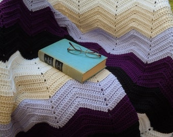 Hand Crochet Chevron Afghan Blanket, Chevron Afghan Lap Blanket, Ripple Afghan Lap Blanket, Black, Violet, Lavender, Tan and White Afghan