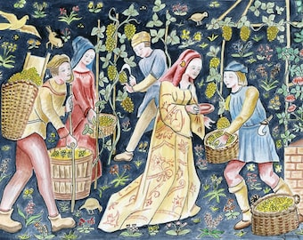 REPRODUCTION of my original watercolor: harvest in the middle ages