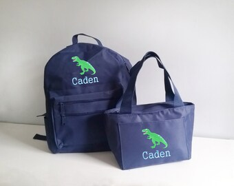 Personalized backpack and lunch bag,  personalized toddler backpacks for boys, dinosaur backpack set