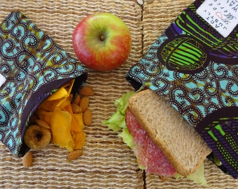 A pair of Fair Trade Re-Usable Snack and Sandwich Bags made in Kenya