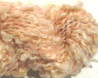 Mini Skein Lockspun Super Bulky pale peach handspun yarn 10 yards mohair locks spiral art yarn knitting supplies crochet supplies doll hair