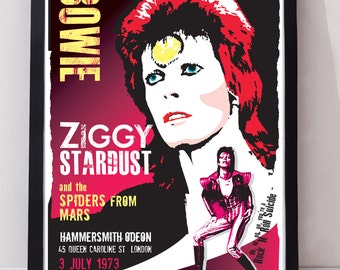 David Bowie Ziggy stardust inspired drawn unframed gig poster. Specially created.