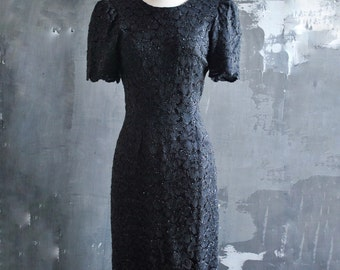 80s Sparkling Black Lace Evening Dress with Plunging Back