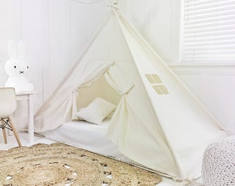 Play Tent Canopy Bed in Natural Canvas WITH Doors