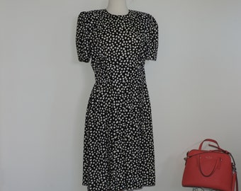 80's Rayon Dress Black and White Polka Dot Rayon 80's Adrian Lee Karin Scott petite size 14