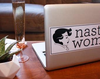 """Drumpf.WTF """"Nasty Woman"""" Anti-Trump, Pro-Feminist Vinyl Bumper Sticker"""