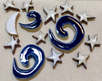 Moon and Stars Handmade Ceramic Mosaic Tile Pack