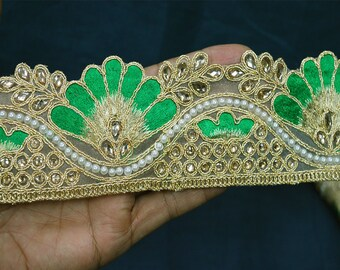 Embellishment Border Ribbon Tape Decorative Trim Costume trim Gold Kundan Trim Stone Work Sari Border Trim by the Yard