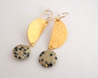 Hammered Brass Earrings, Dalmatian Jasper Earrings, Polka Dot Earrings, Stone Earrings, Gold Dangle Earrings, Gold Statement Earrings
