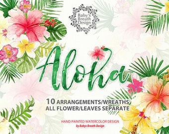 Watercolor Aloha Tropical Wreaths, arrangements, Flower Clip Art Hand Drawn Flowers