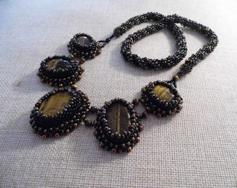 Necklace with pendant, necklace with pearls and natural stones, Tiger eye