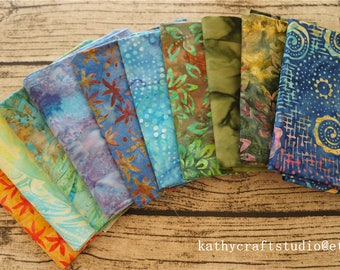 Bali Assortment of mix color theme Fat Eighth Bundle - 10 Different Pieces - Hand Dyed Bali Batik Cotton Quilt Fabric