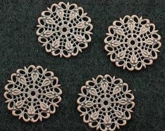 six 25mm ornate antique copper filigree findings