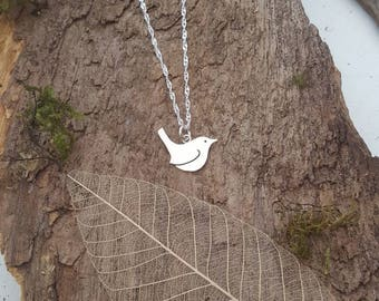 Handmade 925 Sterling silver Wren/bird pendant/necklace - Bird lovers gift