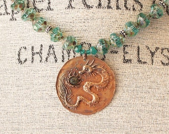 Dragon Necklace One of a Kind Turquoise Dragon Jewelry