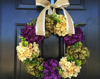 Hydrangea wreath for door, summer door wreath, front door wreath, spring decor