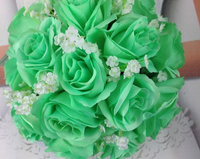 Mint Bridal Bouquet, Mint Wedding Bouquet, Mint Artificial Wedding Flowers