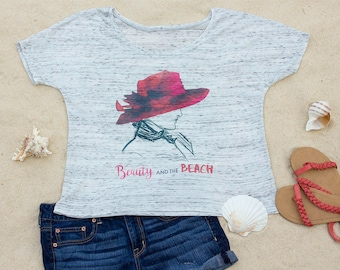 Beauty and the Beach, Beach Slouchy Scoop Neck Women's T-Shirt, Ocean, Vacation, Travel, Gift for Women, Gift for Her, Aesthetic Clothing