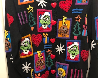 Rare Michael Simon Dr. Seuss Christmas Cardigan Sweater, Heart Buttons, Cindy Lou-Who, Max The Dog, NC Estate, Clean!