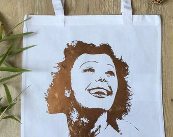 Tote bag made in france portrait Edith PIAF paris vintage bag hand make