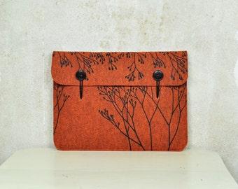 "Macbook Pro / Air 13"" Felt case - orange laptop sleeve - elegant cover with Wild Plant Pattern, original Silkscreen Printed"