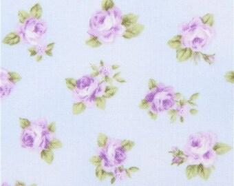 219111 light blue Robert Kaufman fabric purple flower Lady Elizabeth