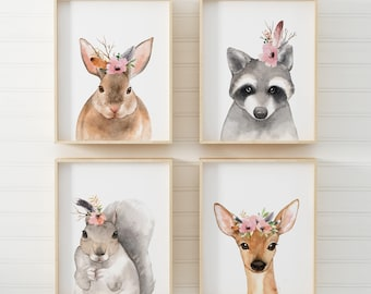 Nursery Wall Art Woodland Nursery Decor Nursery Prints Nursery Art