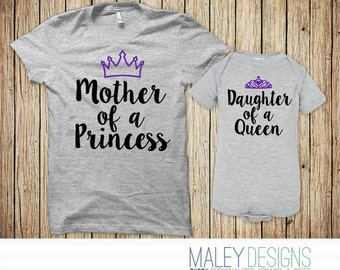 Mommy and Me Outfits, Mommy and Me Shirts, Mother Daughter Shirts, Mother Daughter Matching Outfits Mother of a Princess Daughter of a Queen