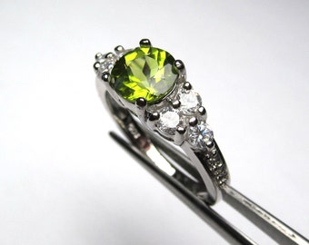 Luscious Genuine Peridot in a Brilliant Accented Sterling Silver Setting